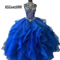 2019 Blue Ball Gown Quinceanera Dresses Fluffy Dress Ruffle Organza Sweet 16 Dresses Long Ball Prom Dress High Neck Crystal Gown