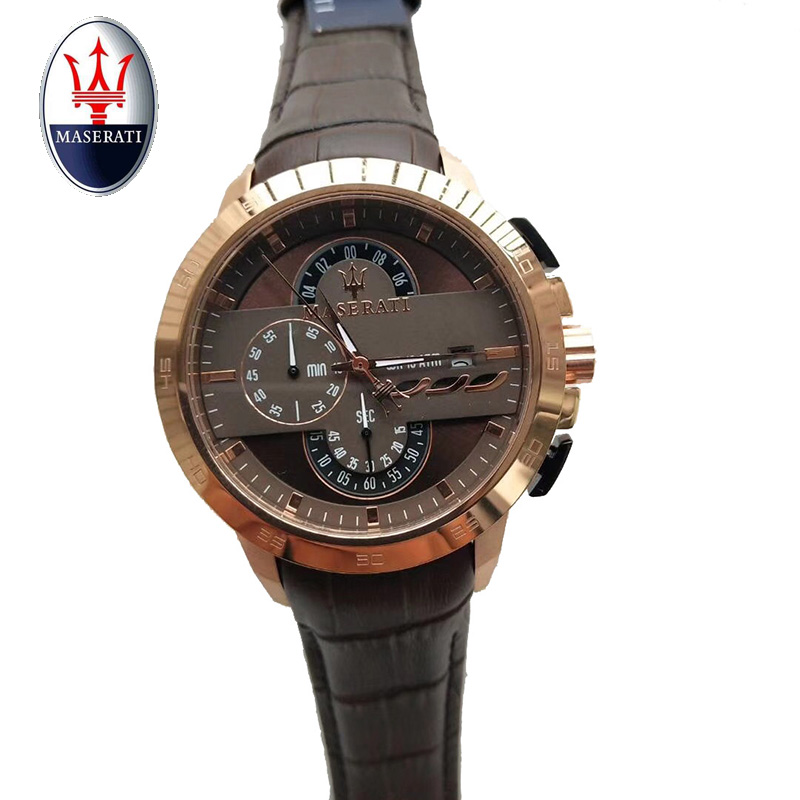 2018 Maserati brand multi-function men's quartz watch leather waterproof sports watch fashion casual waterproof men's watch азатиоприн в спб