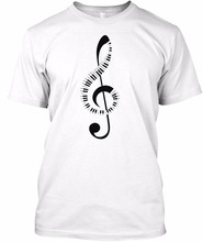New design T shirt men brand clothing fashion Creative Piano Keyboard Amp Treble Clef Music Note T-shirt male quality Tees