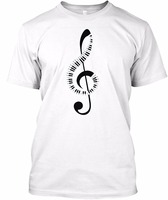 New Design T Shirt Men Brand Clothing Fashion Creative Piano Keyboard Amp Treble Clef Music Note