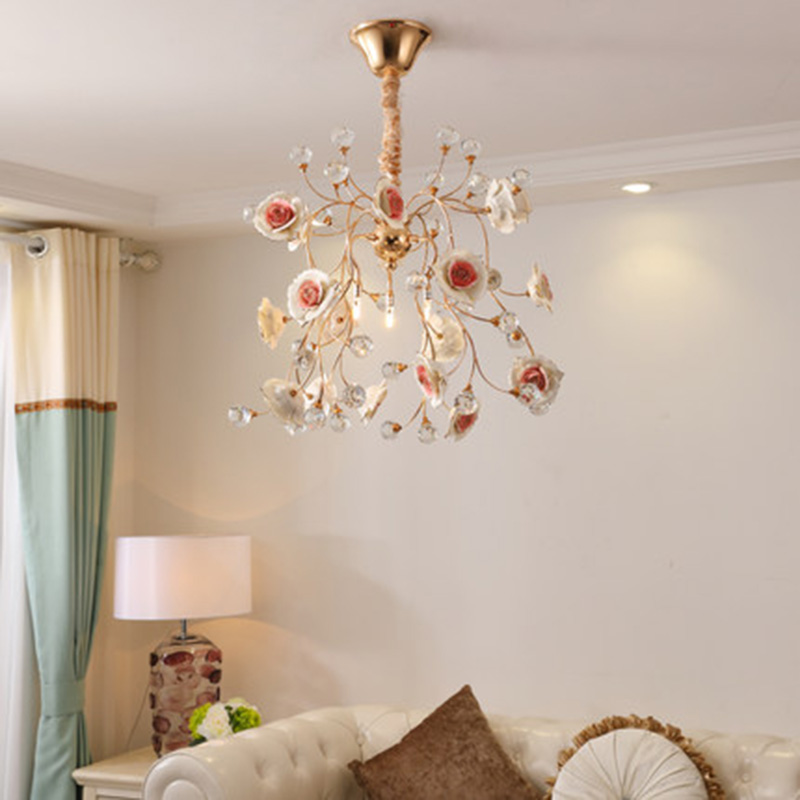 Art Deco LED Ceramic Chandeliers Creative lamps luxurious Crystal indoor lighting Parlor bedroom decorative Chandelier lights