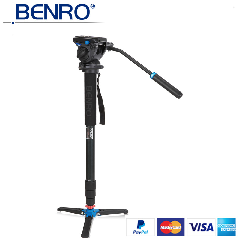 Benro Monopods A48TDS4 Aluminum Monopod Sport Scoping Bird Watching Monopod S4 Video Head 4 Joint Max Load 4kg