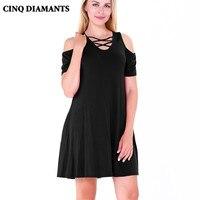 CINQ DIAMANTS Women Summer Dress Sundress Short Sleeve tshirt Dress Gray Green White Cotton Dresses Pocket Vestido Robe Femme