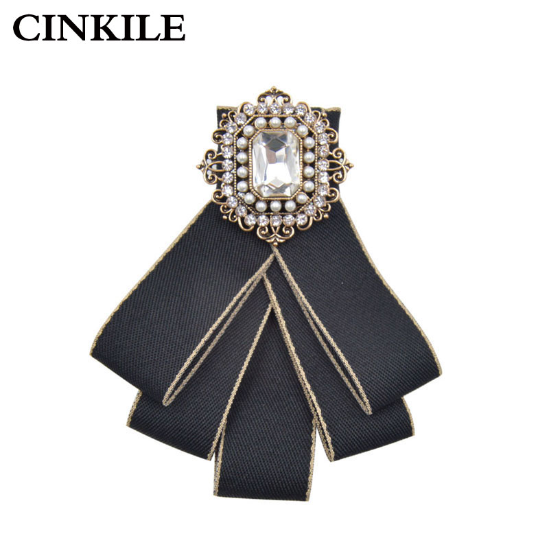 CINKILE Vintage Fabric Handmade Bow Brooches for Women Neck Tie Imported Material Wedding Party Accessories High Quality