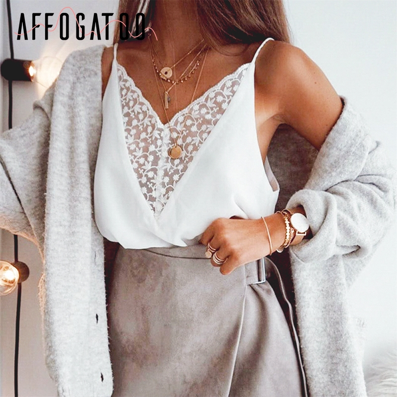 Affogatoo Sexy v neck lace strap summer   tops   cami women Elegant embroidery chiffonfemale   tank     tops   Casual white   tops   ladies
