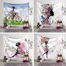 Butterfly Wall Hanging Tapestry Cartoon Girl Pink Wing Bird Umbrella Bicycle Wall Art Decor Blanket Beach Yoga Mat Table Cloth