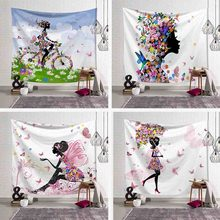 Butterfly Wall Hanging Tapestry Cartoon Girl Pink Wing Bird Umbrella Bicycle Wall Art Decor Blanket Beach Yoga Mat Table Cloth(China)