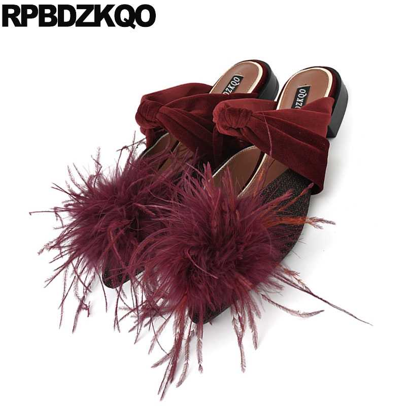 dabe730cb9c87 ... Sandals Mules Bow Big Size Unique 42 Slippers Women 10 Factory Direct  Fur Red Wine Shoes ...