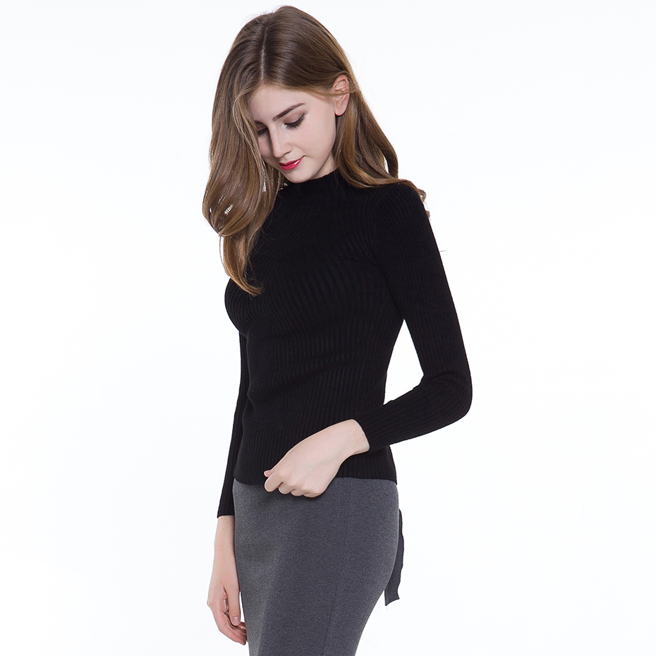 Women Casual Spring Autumn Turtleneck Knitted Sweater Elastic ...