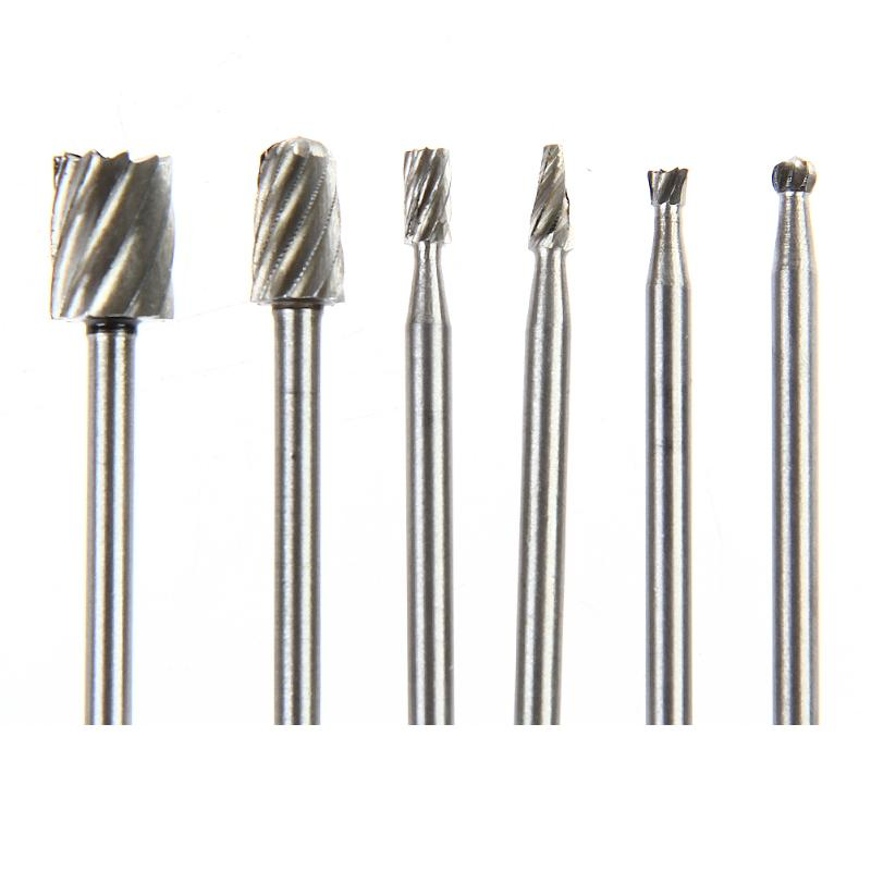 6pcs Dremel Rotary Tools HSS Mini Drill Bit Set Cutting Routing Router Grinding Bits Milling Cutters For Wood Carving Cut Tools