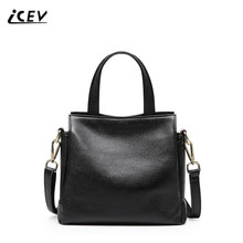 ICEV New Simple 100% Genuine Leather Handbags Organizer Bags Women Famous Brands Fashion Totes