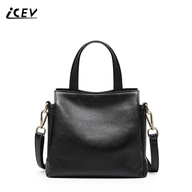 Icev New Simple 100 Genuine Leather Handbags Organizer Bags Women Famous Brands Fashion