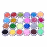 24 Colors Metal Shiny Glitter Nail Art Tool Kit Acrylic UV Powder Dust Gem Decoration