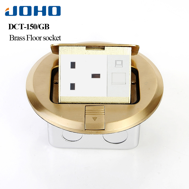 JOHO Socket Brass Round Type Floor Outlet Box Pop Ground Insertion Socket Fast Pop Up 13A UK Socket Presa UniversalJOHO Socket Brass Round Type Floor Outlet Box Pop Ground Insertion Socket Fast Pop Up 13A UK Socket Presa Universal