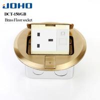 JOHO Socket Brass Round Type Floor Outlet Box Pop Ground Insertion Socket Fast Pop Up 13A UK Socket Presa Universal