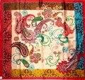 90*90 cm de altura en el palacio de lujo patrón de flores de marañón señoras del satén de seda cuadrado grande
