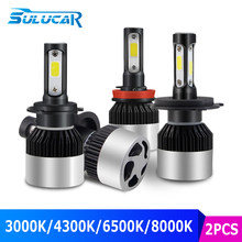SULUCAR H4 LED H7 H11 H8 HB4 H1 H3 HB3 Car Headlight Bulbs 72W 8000LM Auto Headlamps 3000K 4300K 6500K 8000K Hi_Low Beams Truck(China)