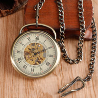 Fob Pendant Bronze Retro Antique Style Roman Numbers Pocket Watch Copper Open Face Hand Winding Mechanical