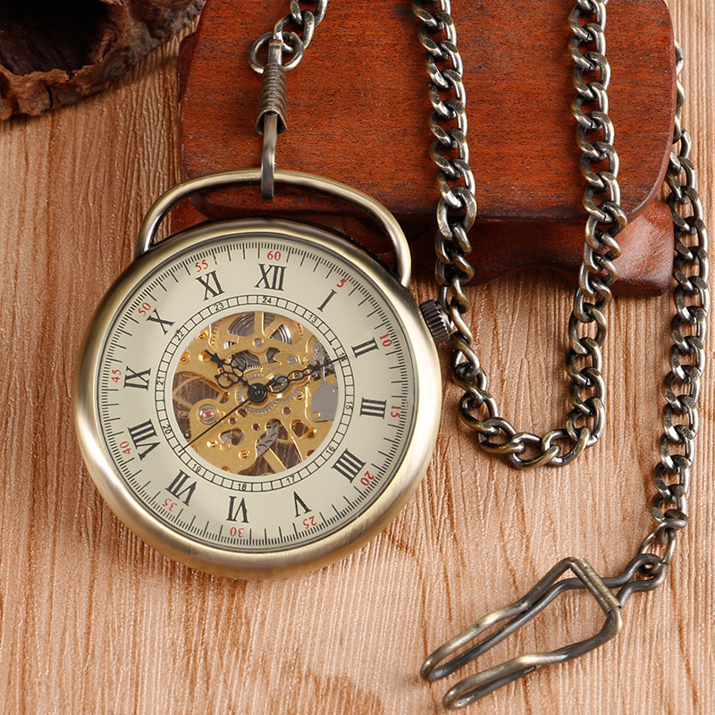 Fob Pendant Bronze Retro Antique Style Roman Numbers Pocket Watch Copper Open Face Hand Winding Mechanical Steampunk Gift bronze grilles hollow roman numerals men mechanical hand winding pocket watch chain steampunk nurse retro gift erkek kol saat