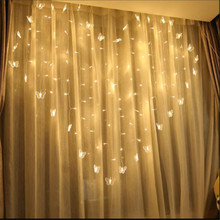 2x1.5m Heart Icicle Curtain Light 124 LED Holiday Christmas Lights 34 Butterfly String Fairy Wedding Decoration