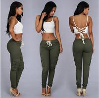 LIENZY Summer Casual Multi Pocket Pants High Waist Solid Lacing White Red Army Khaki Shiny Pencil