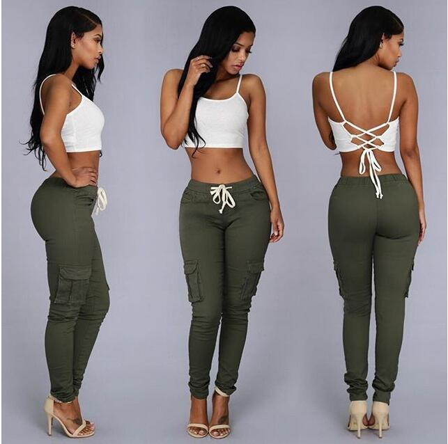 LIENZY Summer Casual Multi Pocket   Pants   High Waist Solid Lacing White Red Army Khaki Shiny Pencil   Pants     Capris   Women Trousers