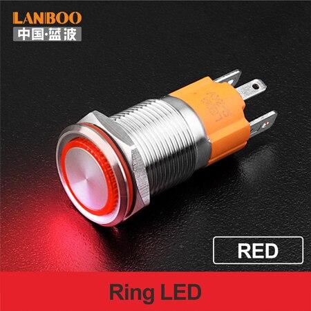 LANBOO производитель 16 мм 12V110V 24V 220V Светодиодный светильник с высоким током 10A мощный фиксатор мгновенный самоблокирующийся кнопочный переключатель - Цвет: Red LED Ring