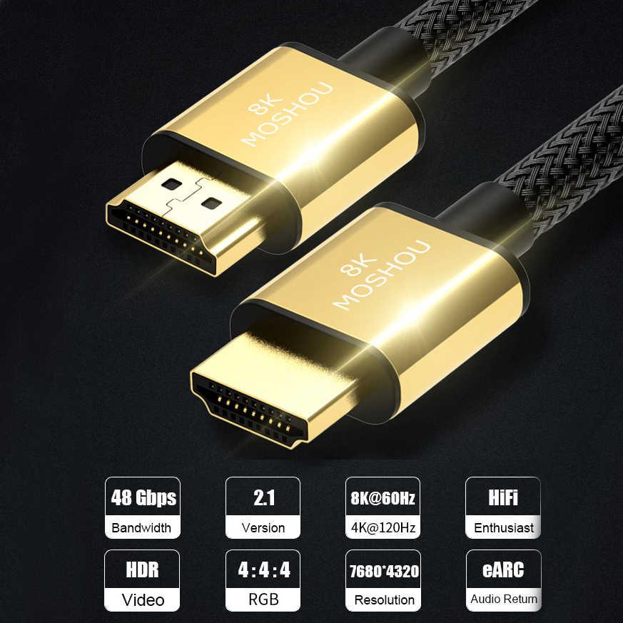 MOSHOU HDMI 2.1 アークビデオケーブル 8K @ 60Hz 4K @ 120 60hz 48Gbps の帯域幅 8 18K コードアンプテレビ高精細マルチメディアインタフェース