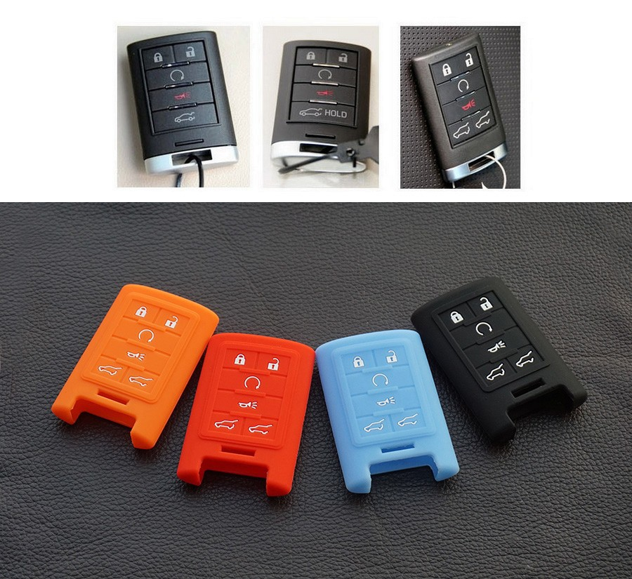 6 Buttons Silicone Cover Remote Smart Key Case Shell For Cadillac SLS CTS ATS CTS SRX XTS Seville Escalade