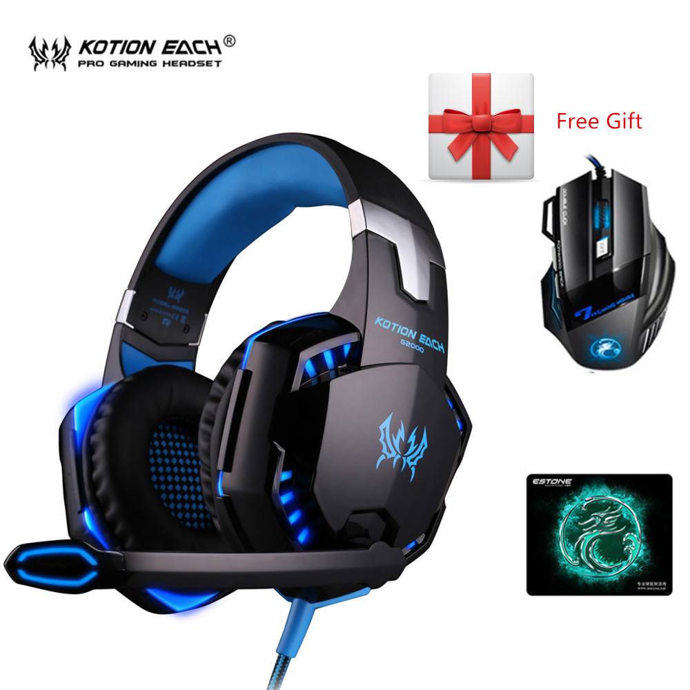 3pcs/Set G2000 Subwoofer Gaming Headphones with Mic for Computer Headset Gamer+ iMICE X7 2400dpi Mouse PC Mice + Large Mousepad