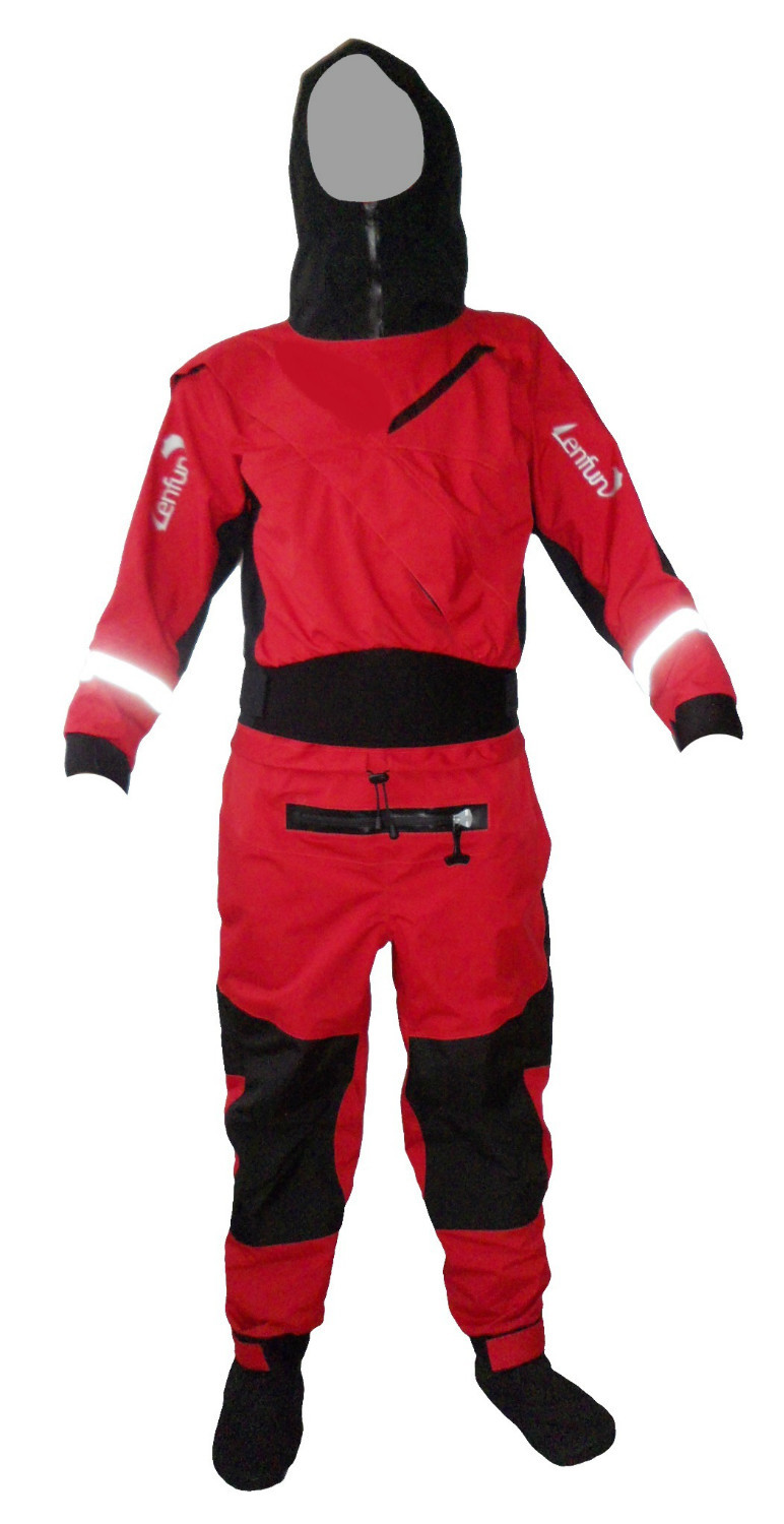 New Dry Suit With Hood Latex Neck/wrist Gasket Waterproof Socks For Whitewater,kayak,sailing,fishing