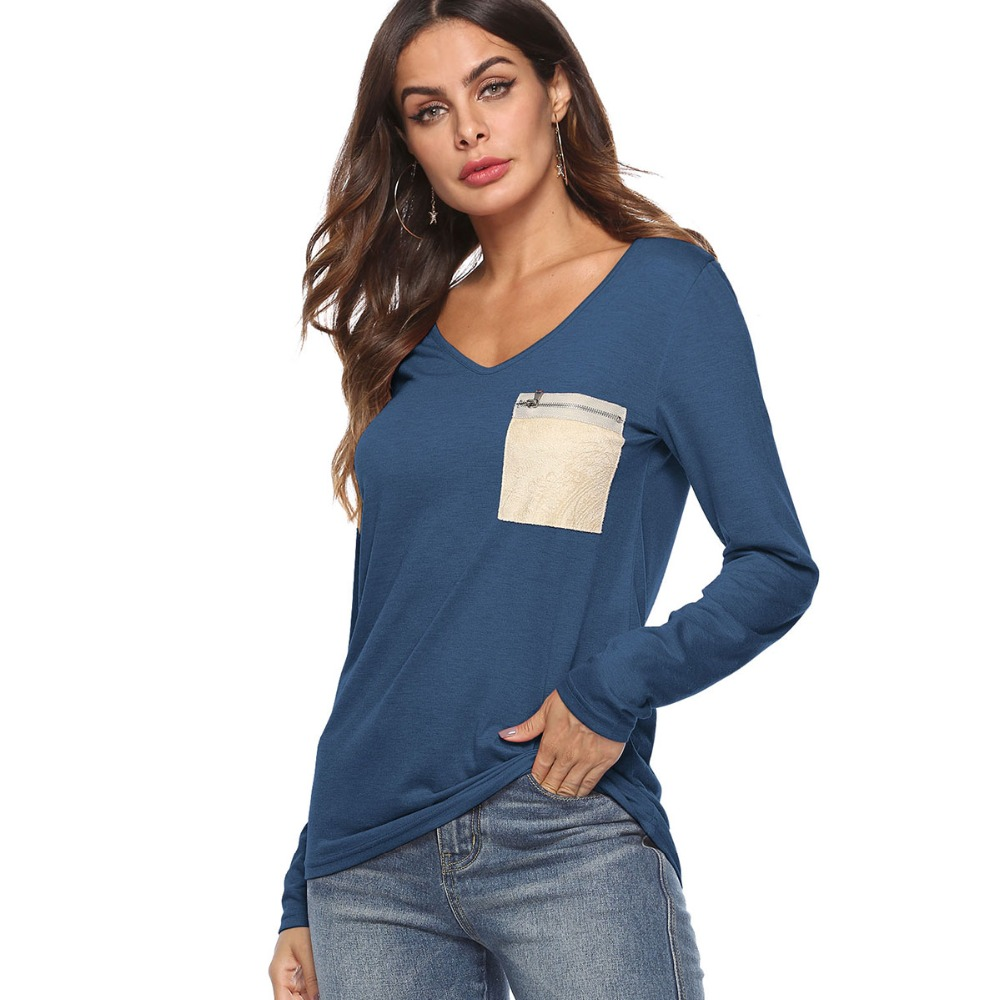 Gladiolus 2018 Autumn Winter Casual Patchwork Zipper Pocket Cotton T Shirt Women Fashion Solid V Neck Long Sleeve Slim T-Shirts