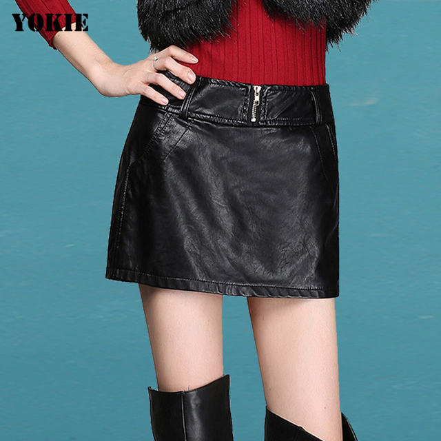 Autumn Winter Women's Leather shorts Slim High Waist PU faux Leather maxi mini shorts skirts Women Sexy Pencil Skirt Big size