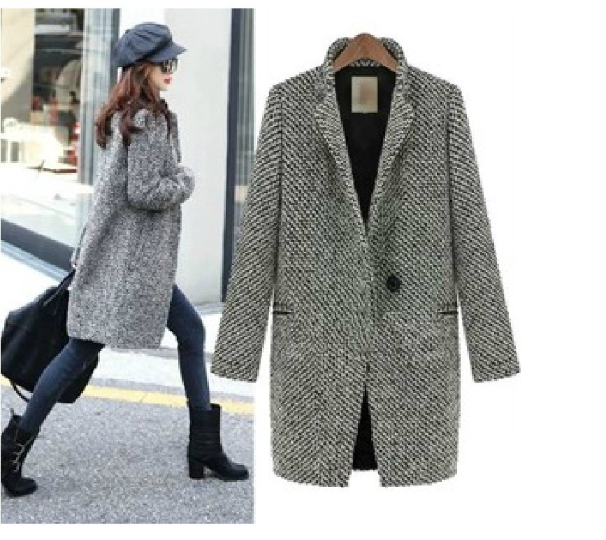 Free Shipping Elegant Women Winter Wool Coats Plus Size Grey Warm ...