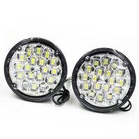 New 2Pcs 12V 18 LED Round Car Driving Daytime Running Light DRL Fog Lamp Bright White
