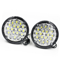 New 2Pcs 12V 18 LED Round Car Driving Daytime Running Light DRL Fog Lamp Bright White