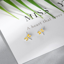 Lidavi 925 sterling silver Fashion Yellow Animal Earrings Dragonfly Earrings For