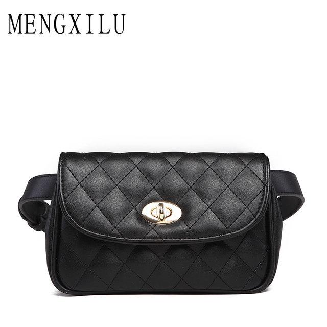 Mengxilu Fashion Lock Women Waist Belt Bag Las Pack Plaid Small