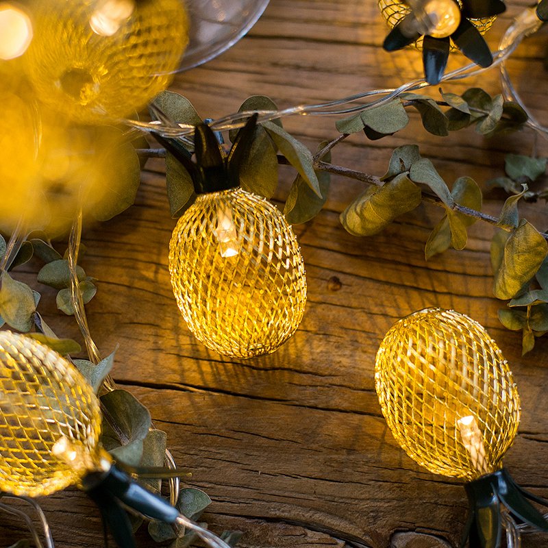 Pineapple String Lights, 10 LED String Lights Battery Operated for Bedroom Home Wedding Party Christmas Decoration