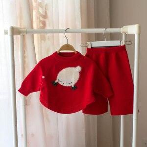 Image 2 - Małe dziecko dziewczyna odzież zestaw dzieci sweter z wełny 2 sztuk zima jesień stroje odzież wierzchnia ubrania garnitur dla dziewczyny boże narodzenie kostium