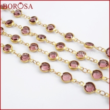 BOROSA Gold Color 7mm Light Purple Crystal Druzy Crystal Faceted Coin Rosary Chains for Necklace Drusy Beaded Chains JT190 7mm amethyst pearl rosary