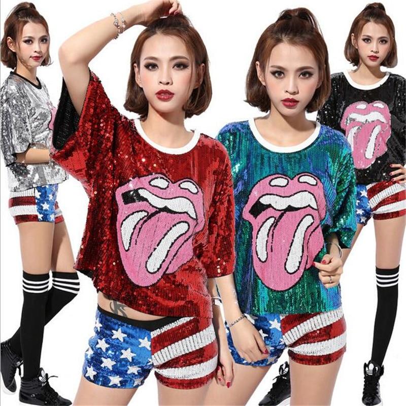 2016 Women Hip-hop Sequin Tops Performance Clothing Paillette DS Jazz Team Dance Costumes Bar Club Dancing T Shirt Wholesale