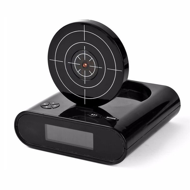 The Ultimate Laser Gun Shooting Alarm Clock…must have for every serious gamer….