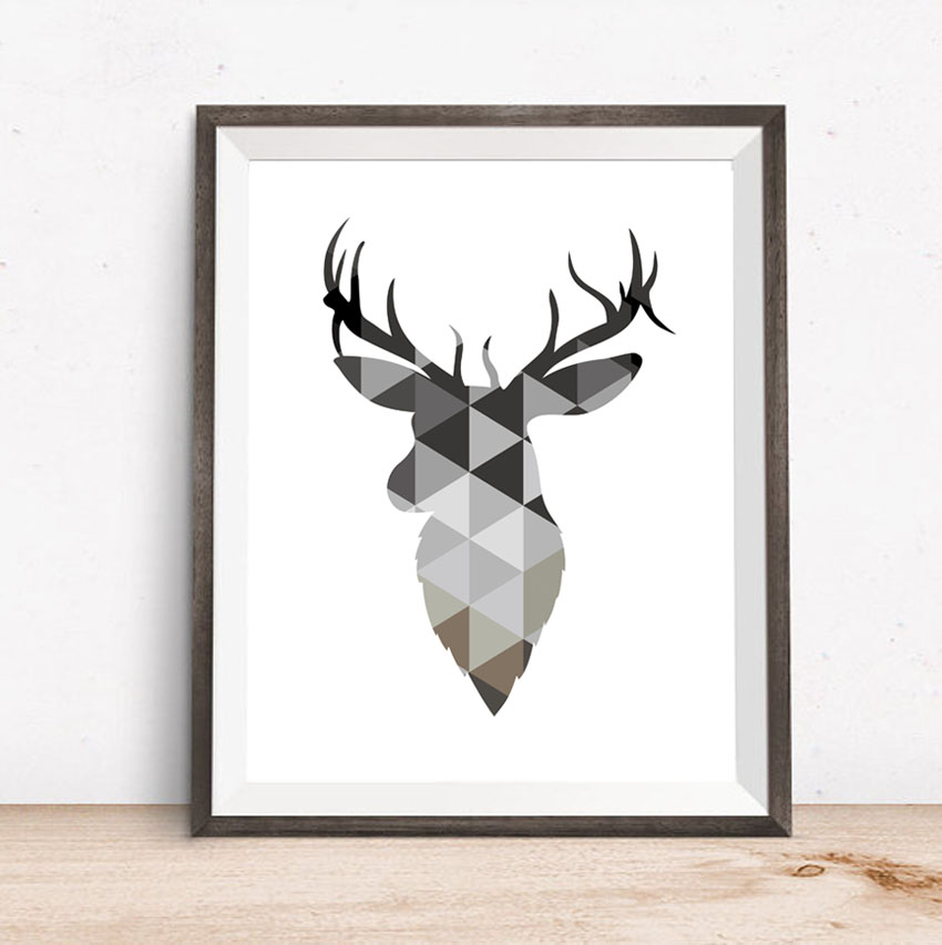 Geometric Purple Deer Wall Art Print Modern Poster Buck: Geometric Coral Deer Head Canvas Art Print Poster Painting