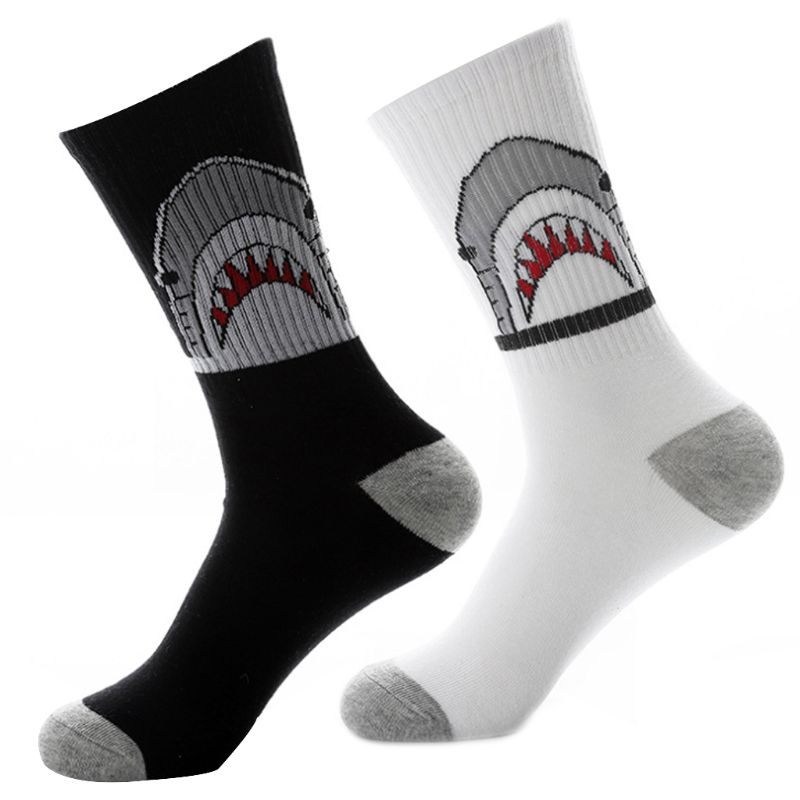 1 Pair Unisex Cotton Shark Print Hip Hop Skateboard Breathable Tube Socks
