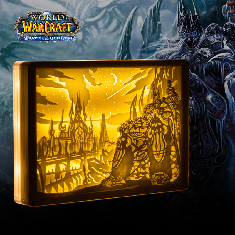 Paper Carving Night Lights World of Warcraft Arthas LED Table Lamp Bedroom Bedside Night Lights 3D Carved Decor Lamp Gift world of warcraft 3d led lamp the alliance tribal signs remote touch control night light usb decorative table lamp friend s gift