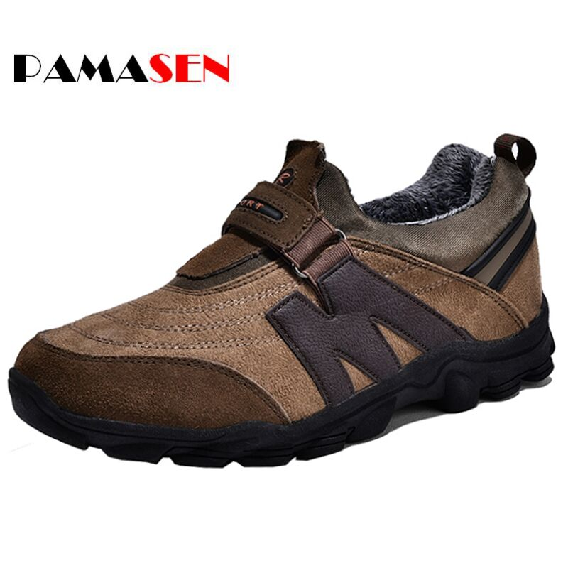 PAMASEN Men Shoes Flats Suede Leather Casual Shoes with Fur Mens Warm shoes for Short plush Winter Platform Slip-On Boat Shoes spring women casual shoes suede genuine leather platform flats tassel wedge slip on ladies creepers shoes red fur winter