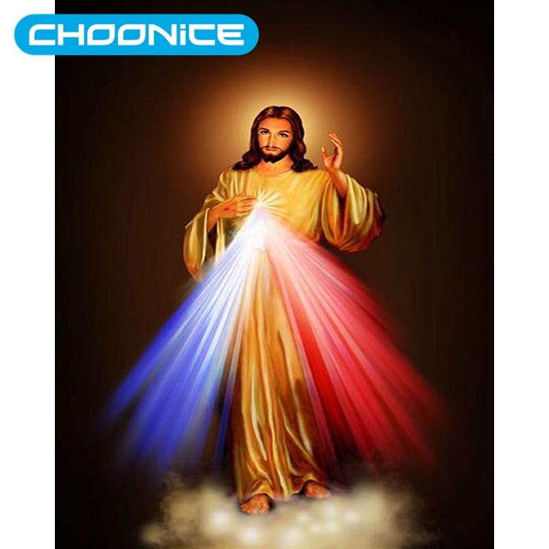 Алмаз Живопись Иисус Священное Сердце синий и красный сильный свет DIY 3D DIAMOND Вышивка христианская картина мозаика рисунки