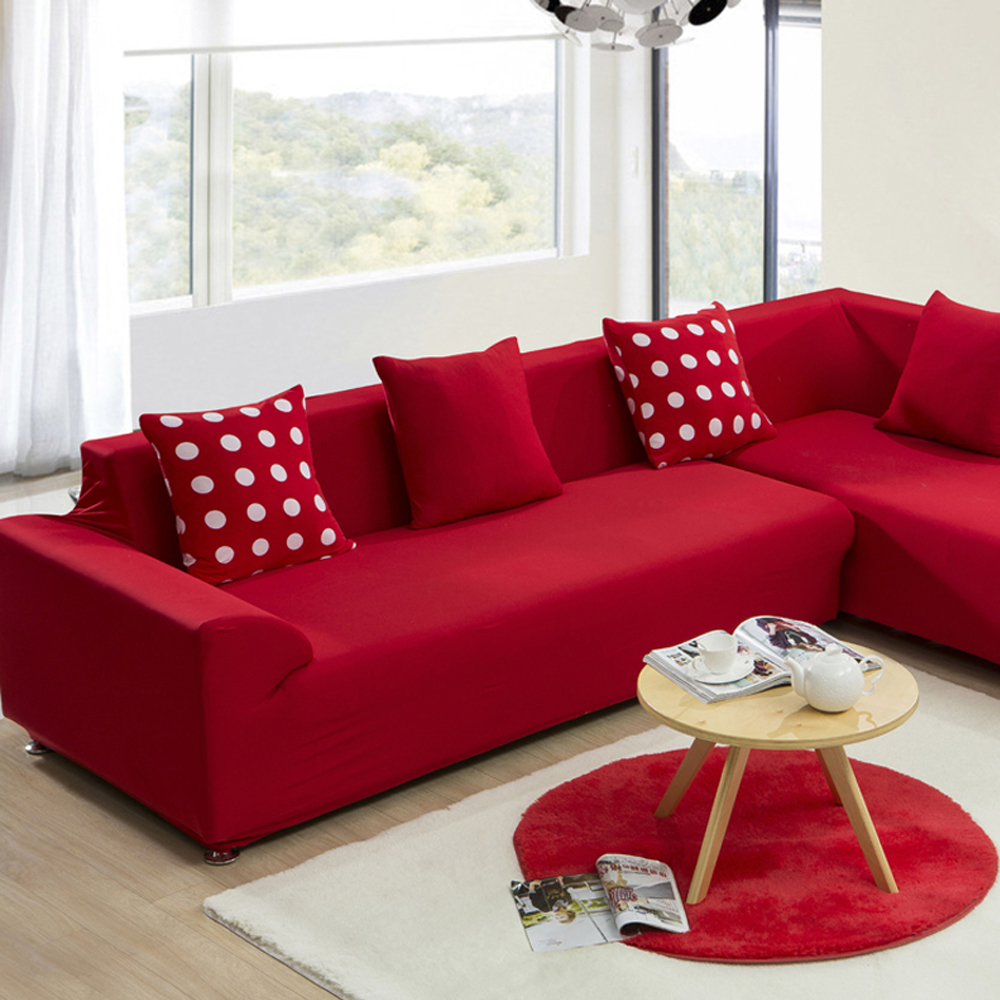 ... Red Sofa Slipcover Sunnyrain Thick Cotton Canvas Solid For Red Sofa  Slipcovers ...