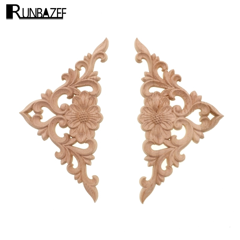 RUNBAZEF Ocean of Flowers Træ Carved Onlay Applique Frame Døre Wall Decorate Furniture Dekorative Figurines Wooden Miniatures